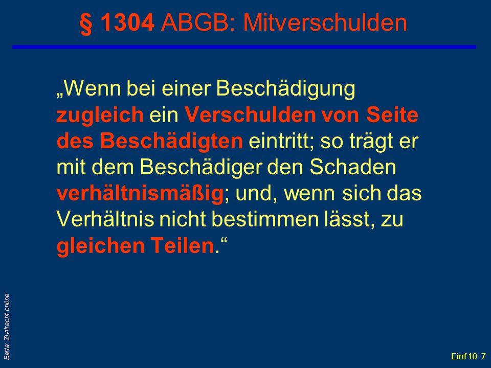 § 1304 ABGB: Mitverschulden