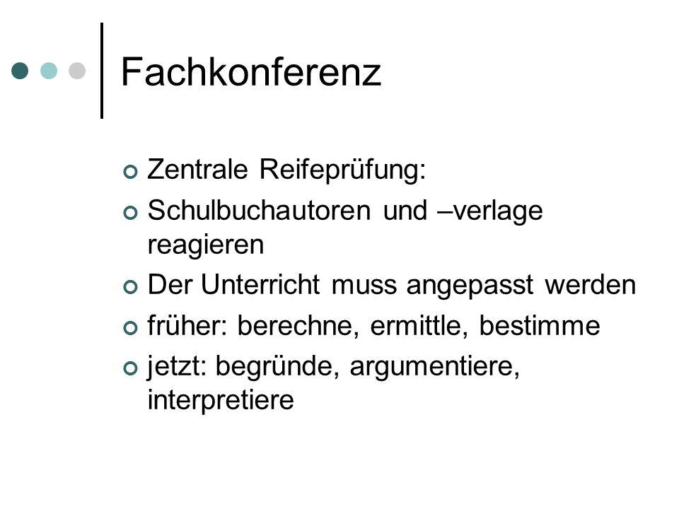 Fachkonferenz Zentrale Reifeprüfung: