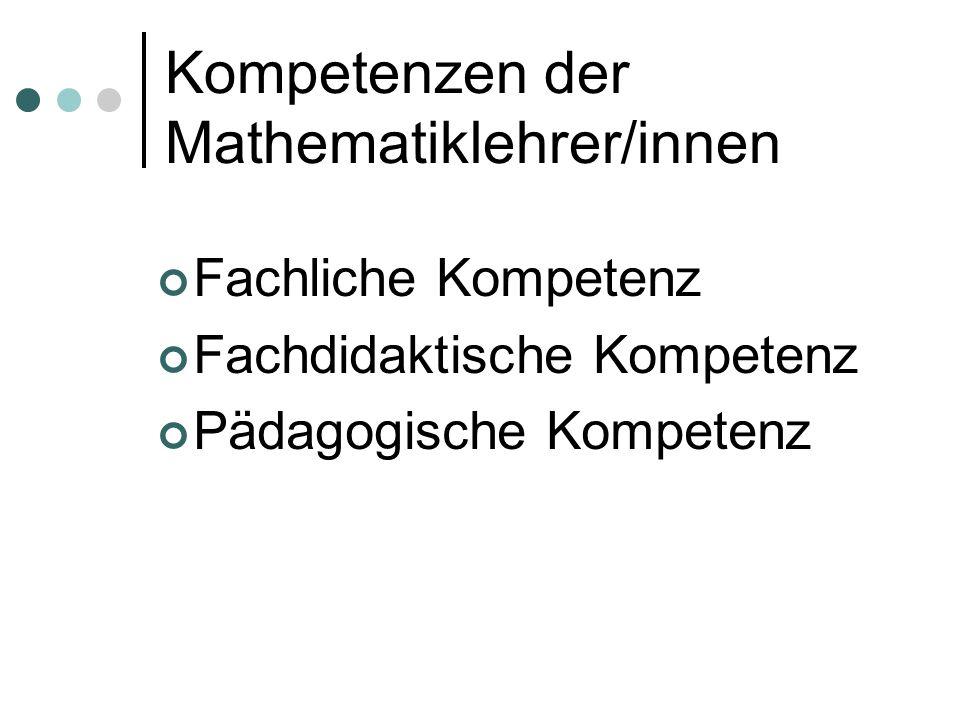 Kompetenzen der Mathematiklehrer/innen