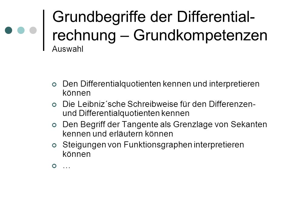 Grundbegriffe der Differential-rechnung – Grundkompetenzen Auswahl