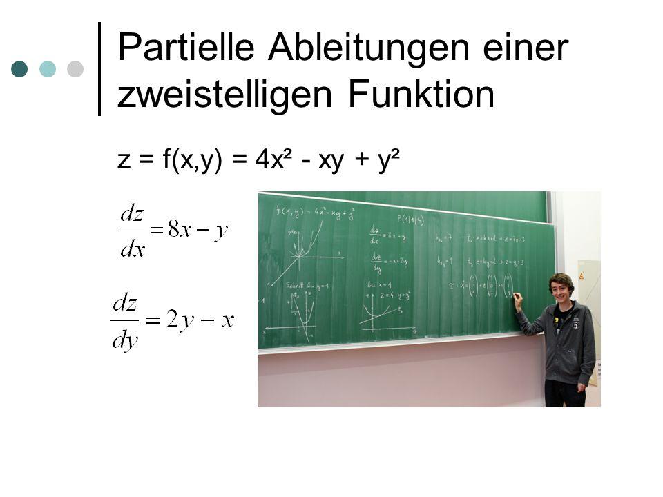 Partielle Ableitungen einer zweistelligen Funktion