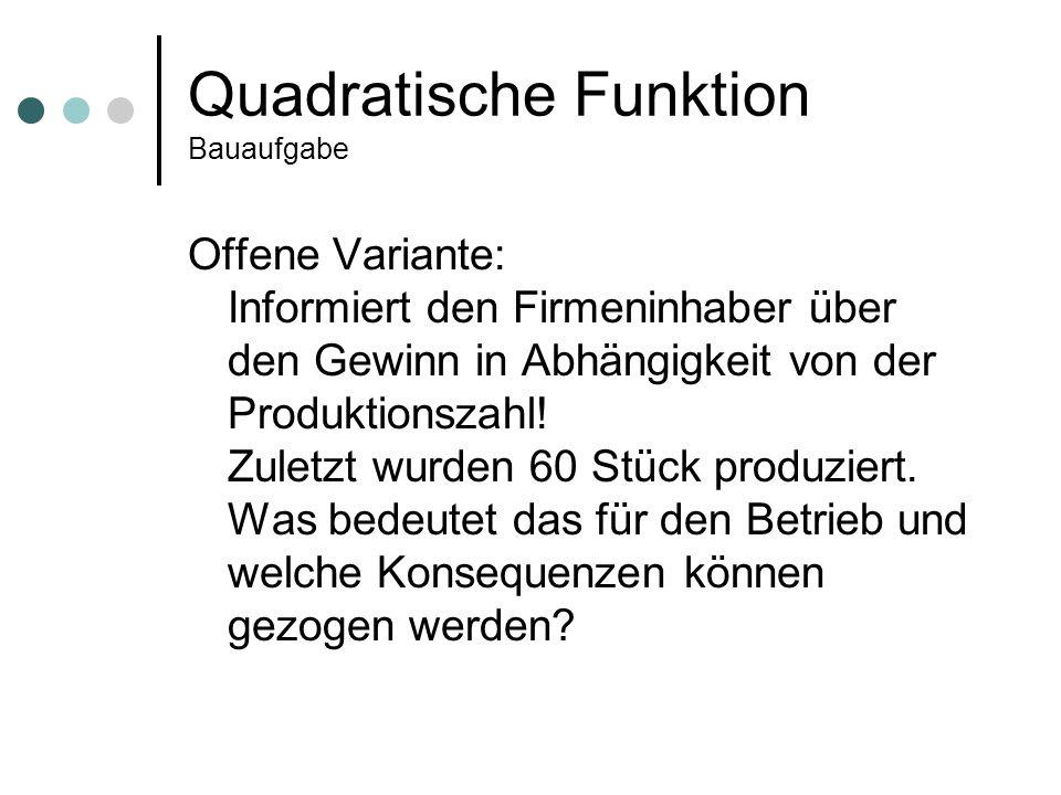 Quadratische Funktion Bauaufgabe