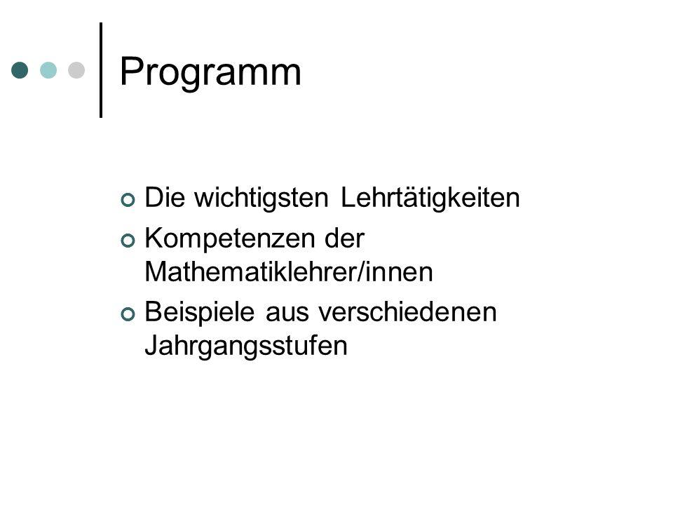 Programm Die wichtigsten Lehrtätigkeiten