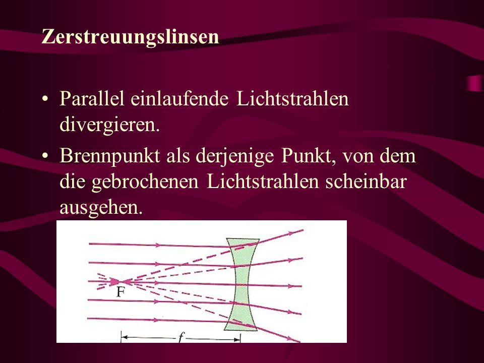 Zerstreuungslinsen Parallel einlaufende Lichtstrahlen divergieren.
