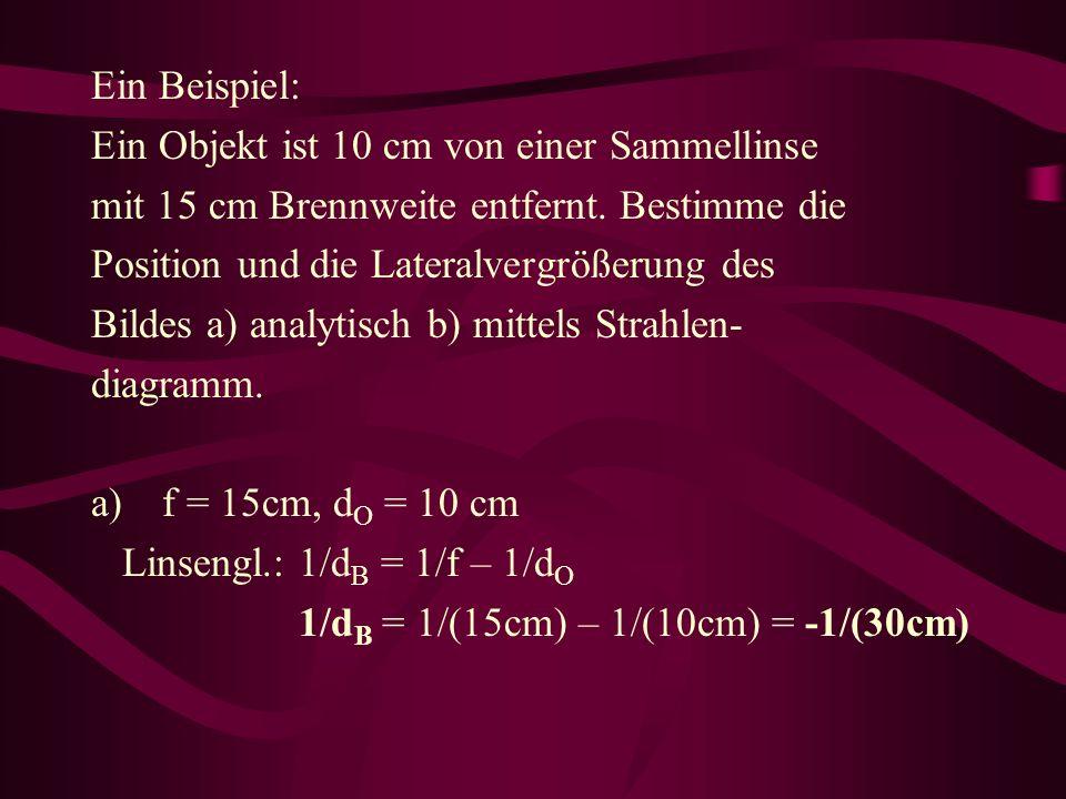 Ein Beispiel: Ein Objekt ist 10 cm von einer Sammellinse. mit 15 cm Brennweite entfernt. Bestimme die.