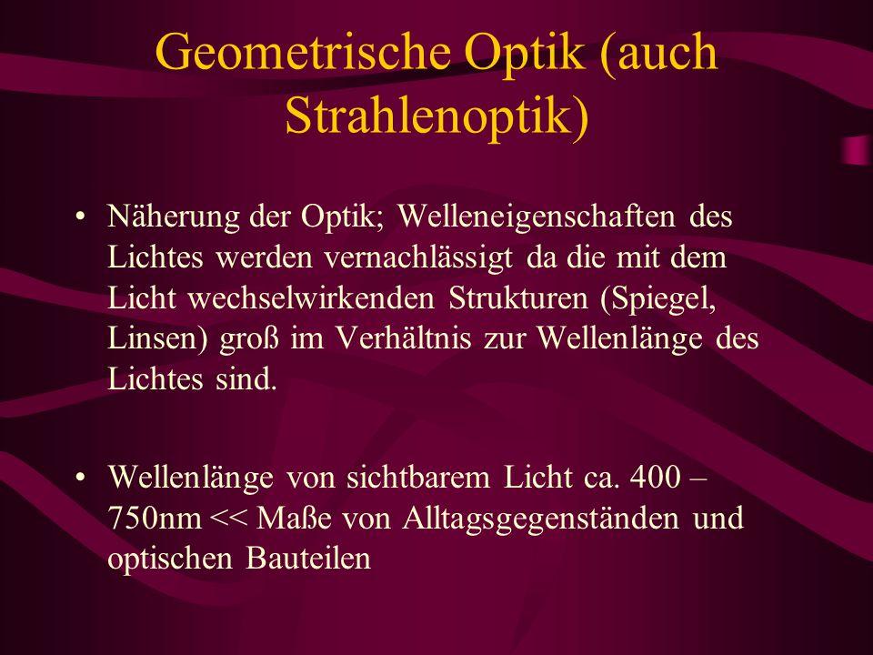 Geometrische Optik (auch Strahlenoptik)
