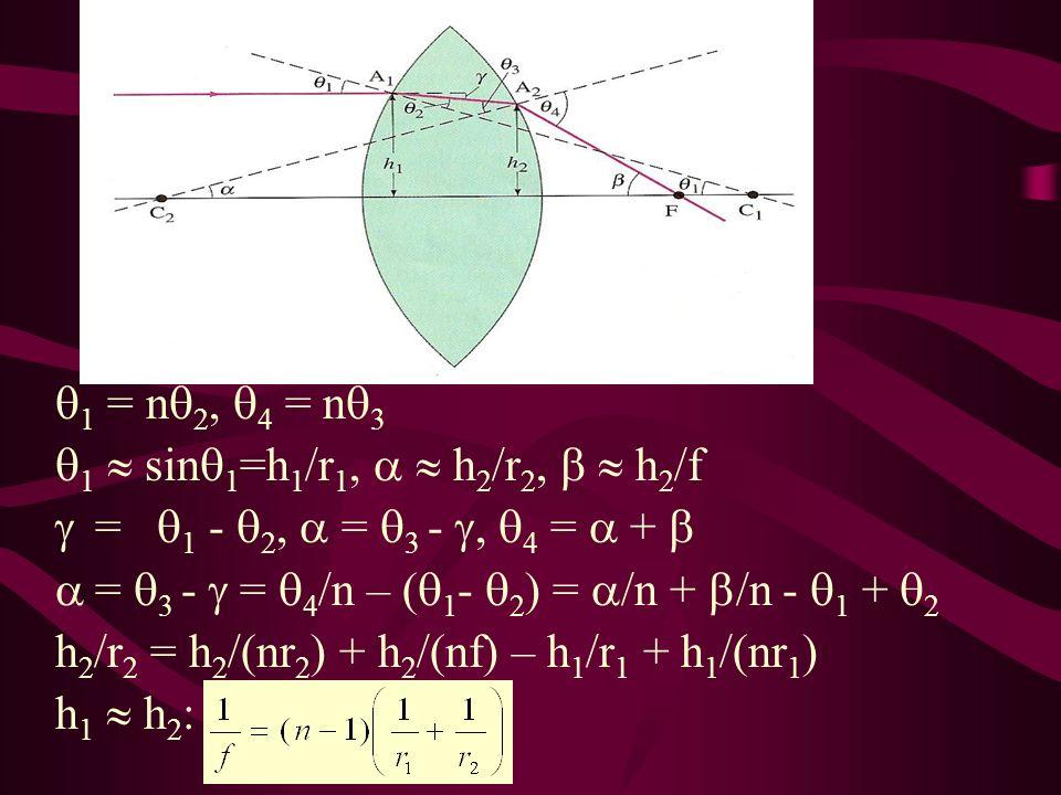 1 = n2, 4 = n3 1  sin1=h1/r1,   h2/r2,   h2/f. =  1 - 2,  = 3 - , 4 =  +  = 3 -  = 4/n – (1- 2) = /n + /n - 1 + 2.