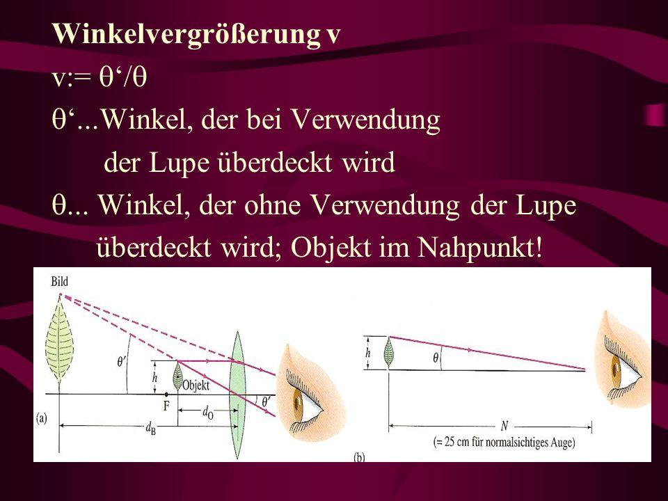 Winkelvergrößerung v v:= '/ '...Winkel, der bei Verwendung. der Lupe überdeckt wird. ... Winkel, der ohne Verwendung der Lupe.