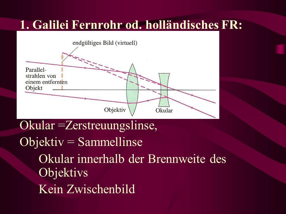 1. Galilei Fernrohr od. holländisches FR: