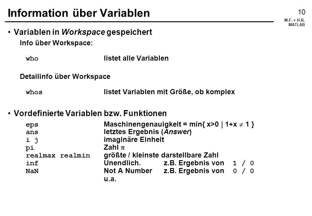 Information über Variablen