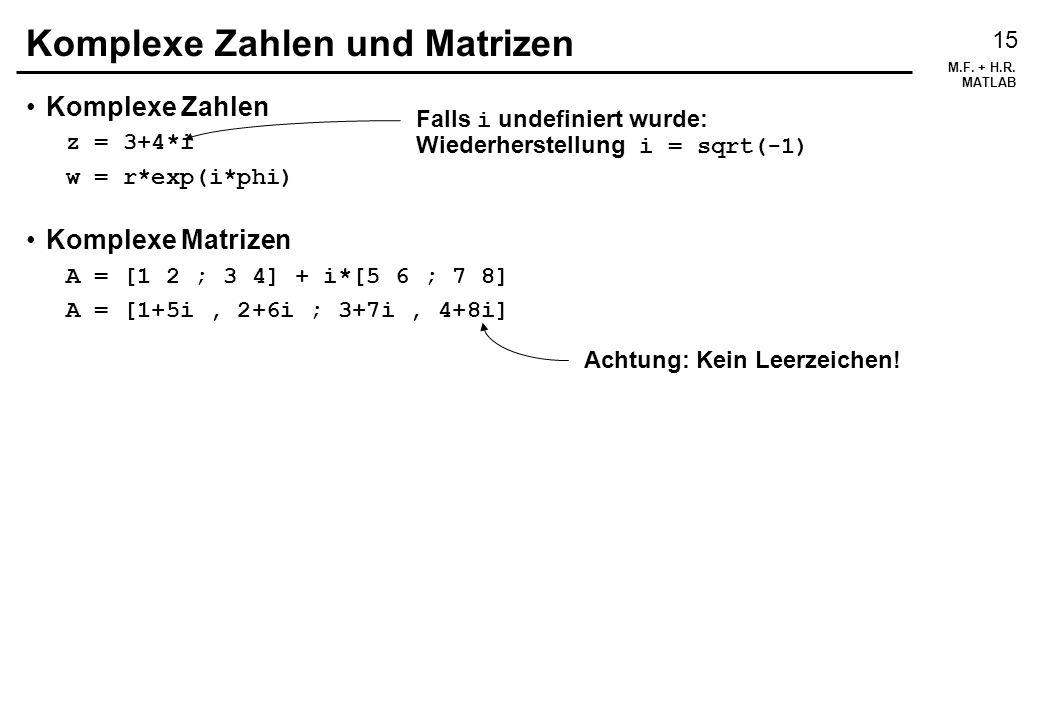 Komplexe Zahlen und Matrizen