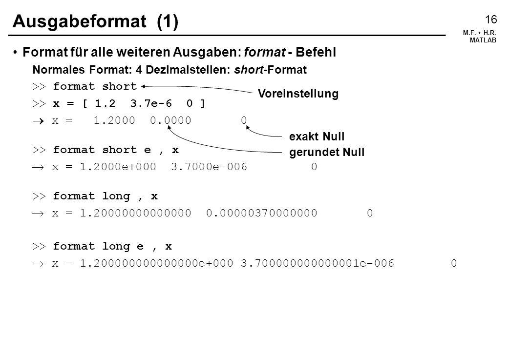 Ausgabeformat (1) Format für alle weiteren Ausgaben: format - Befehl