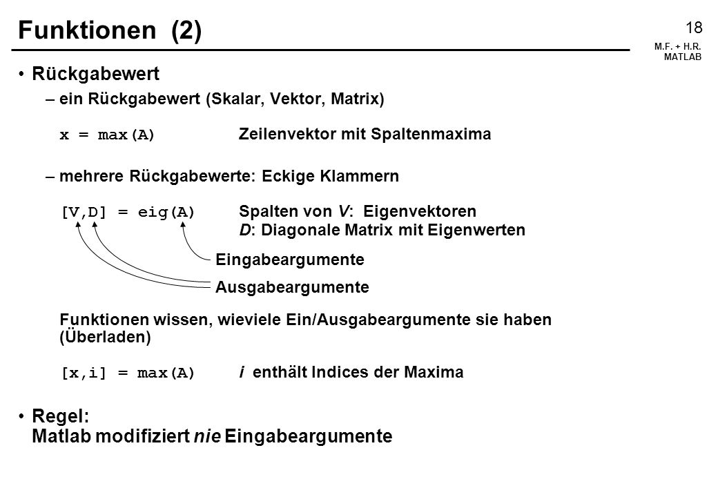 Funktionen (2) Rückgabewert