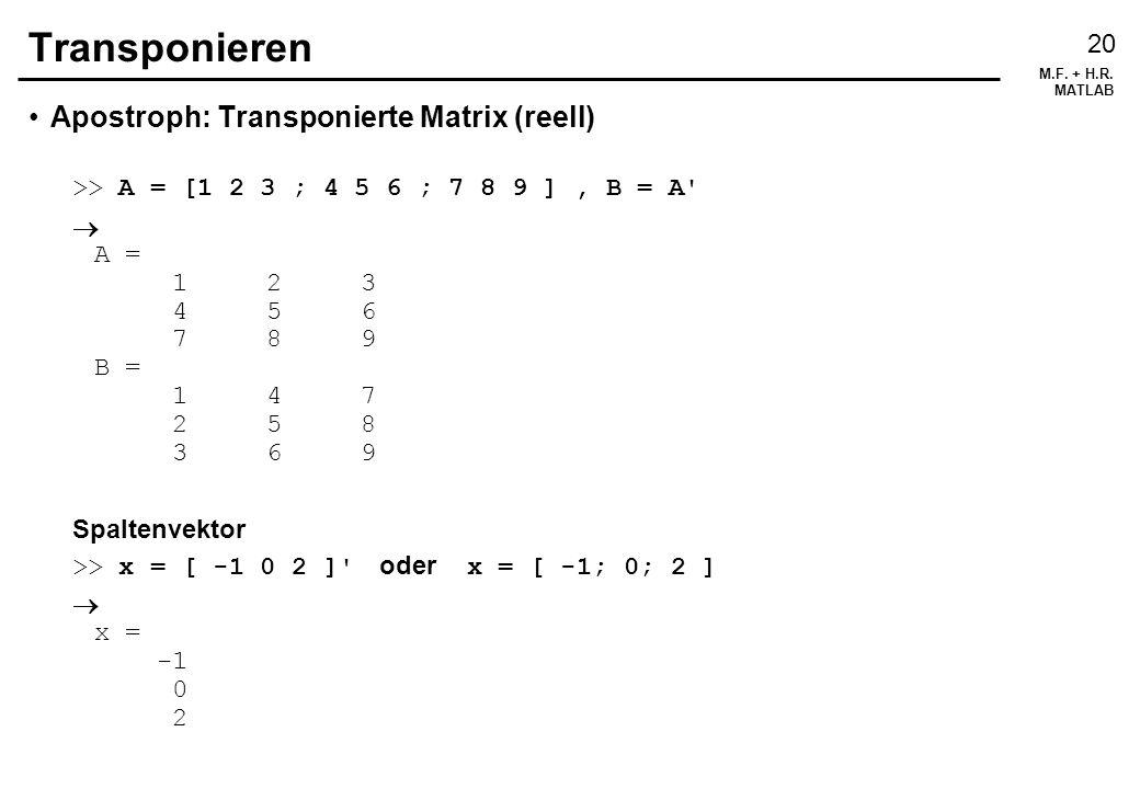 Transponieren Apostroph: Transponierte Matrix (reell)