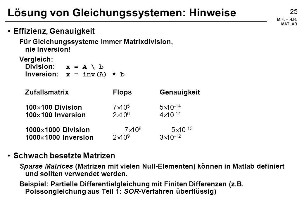 Lösung von Gleichungssystemen: Hinweise