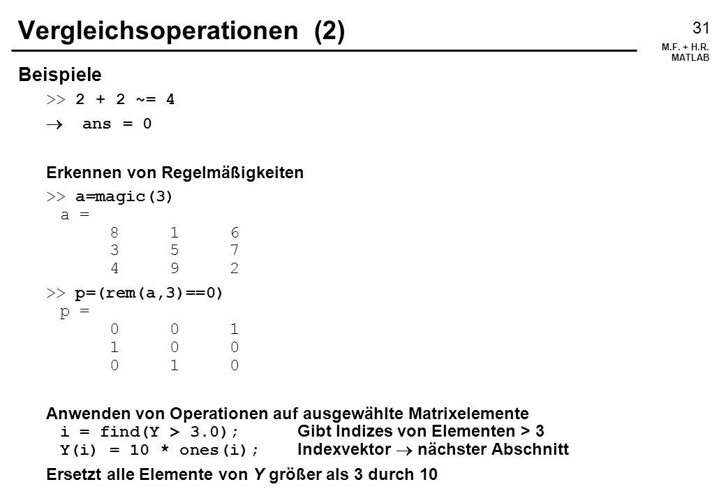 Vergleichsoperationen (2)
