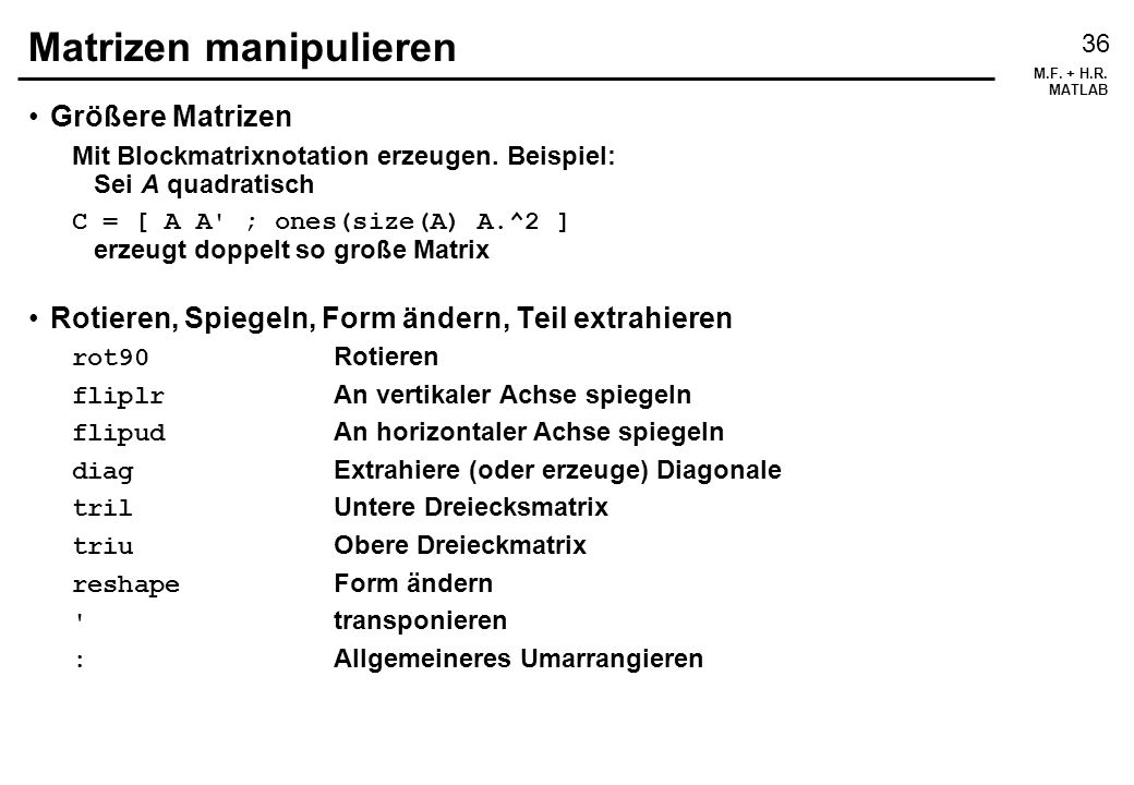 Matrizen manipulieren