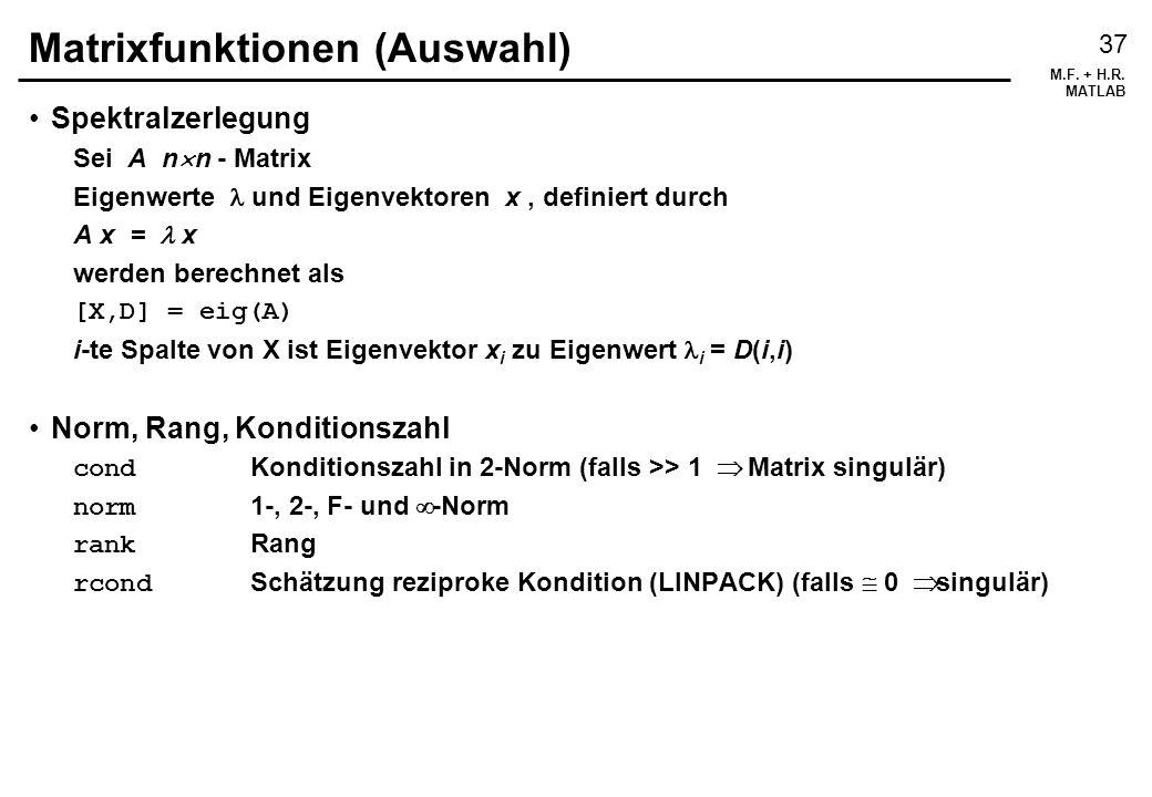 Matrixfunktionen (Auswahl)
