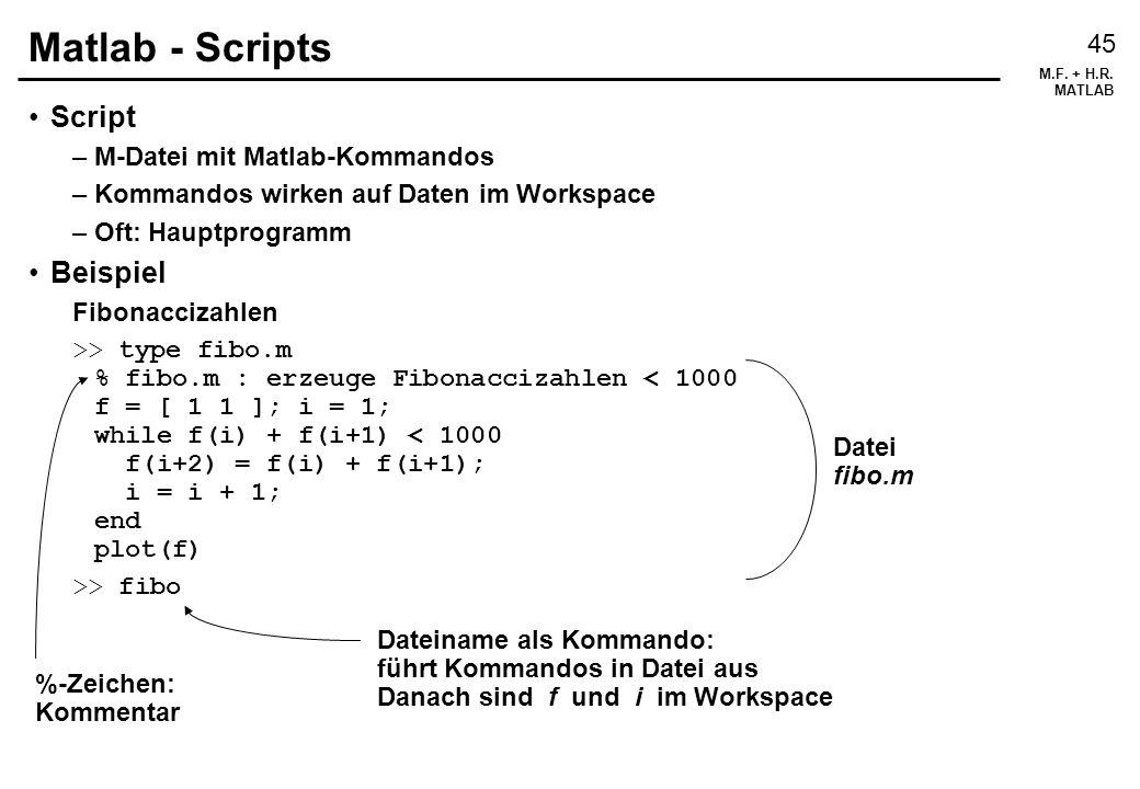 Matlab - Scripts Script Beispiel M-Datei mit Matlab-Kommandos