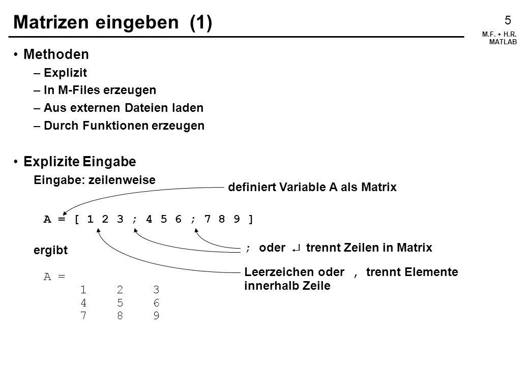 Matrizen eingeben (1) Methoden Explizite Eingabe Explizit