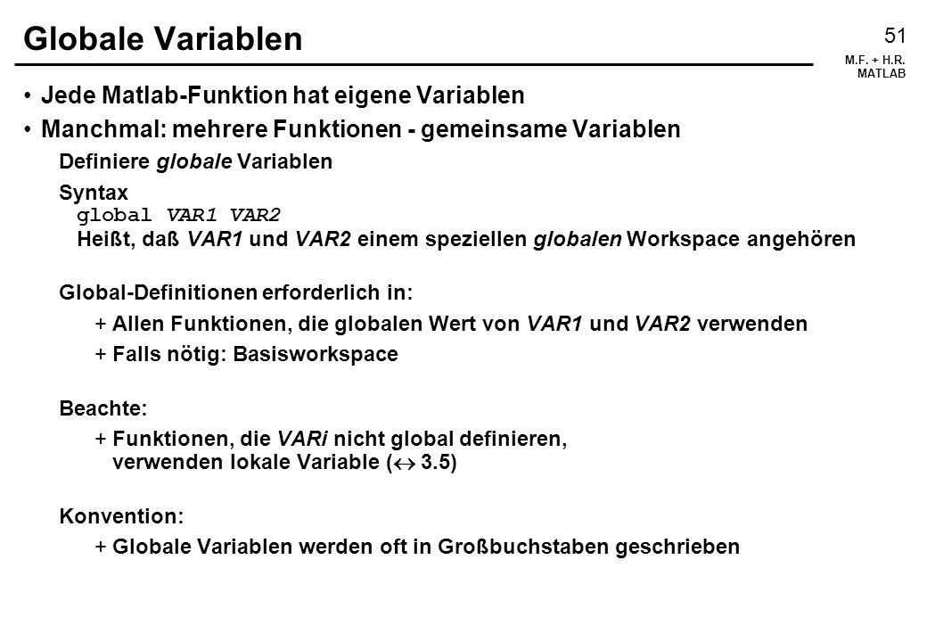 Globale Variablen Jede Matlab-Funktion hat eigene Variablen