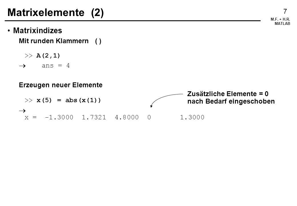 Matrixelemente (2) Matrixindizes