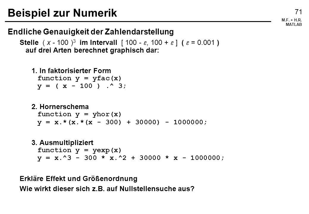 Beispiel zur Numerik Endliche Genauigkeit der Zahlendarstellung