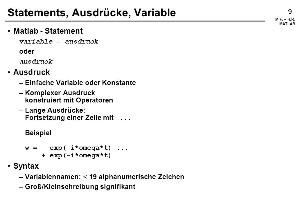 Statements, Ausdrücke, Variable