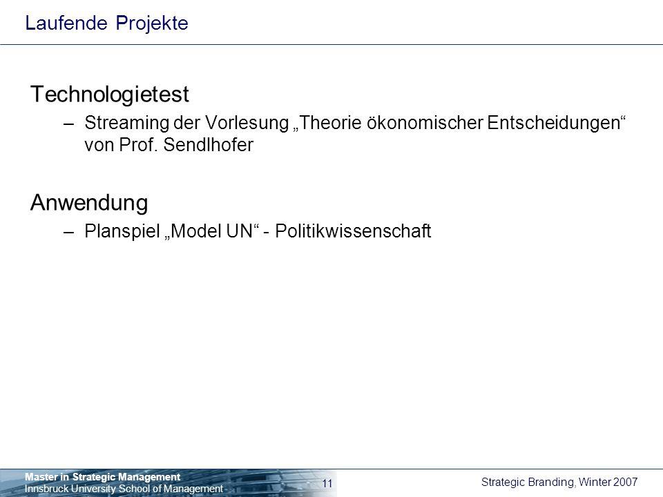 Technologietest Anwendung Laufende Projekte