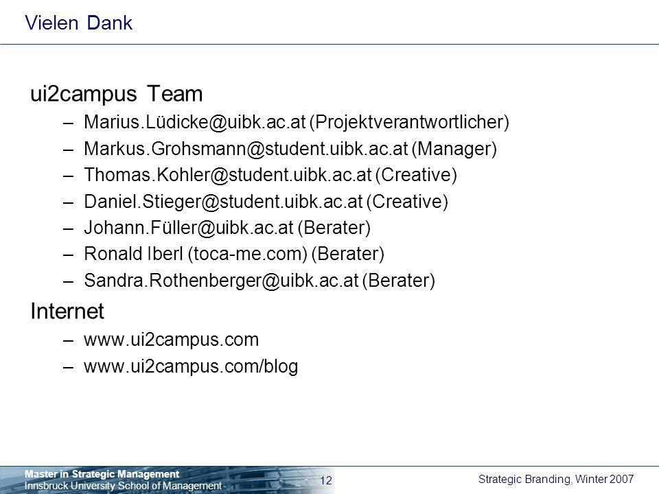 ui2campus Team Internet Vielen Dank