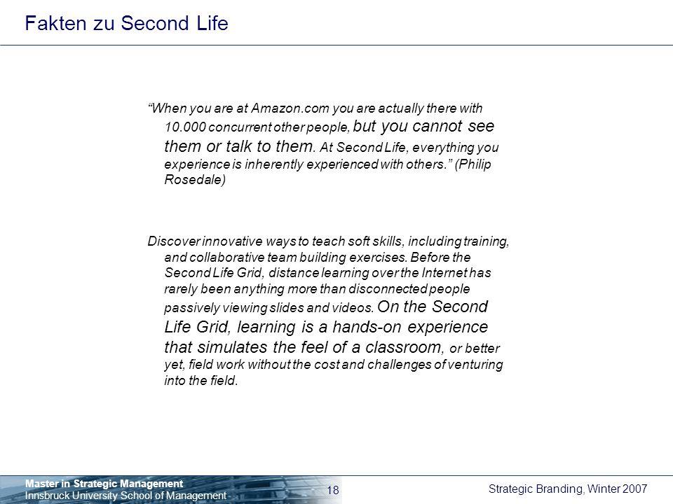 Fakten zu Second Life