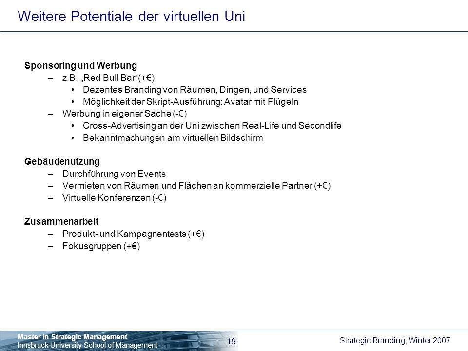 Weitere Potentiale der virtuellen Uni