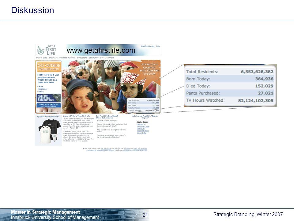 Diskussion www.getafirstlife.com
