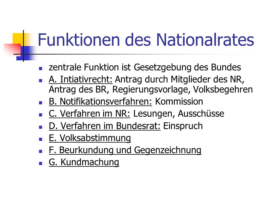 Funktionen des Nationalrates