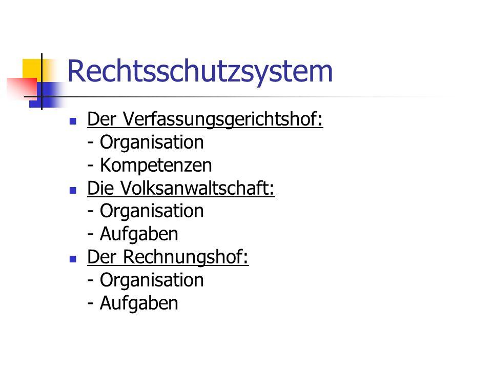 Rechtsschutzsystem Der Verfassungsgerichtshof: - Organisation