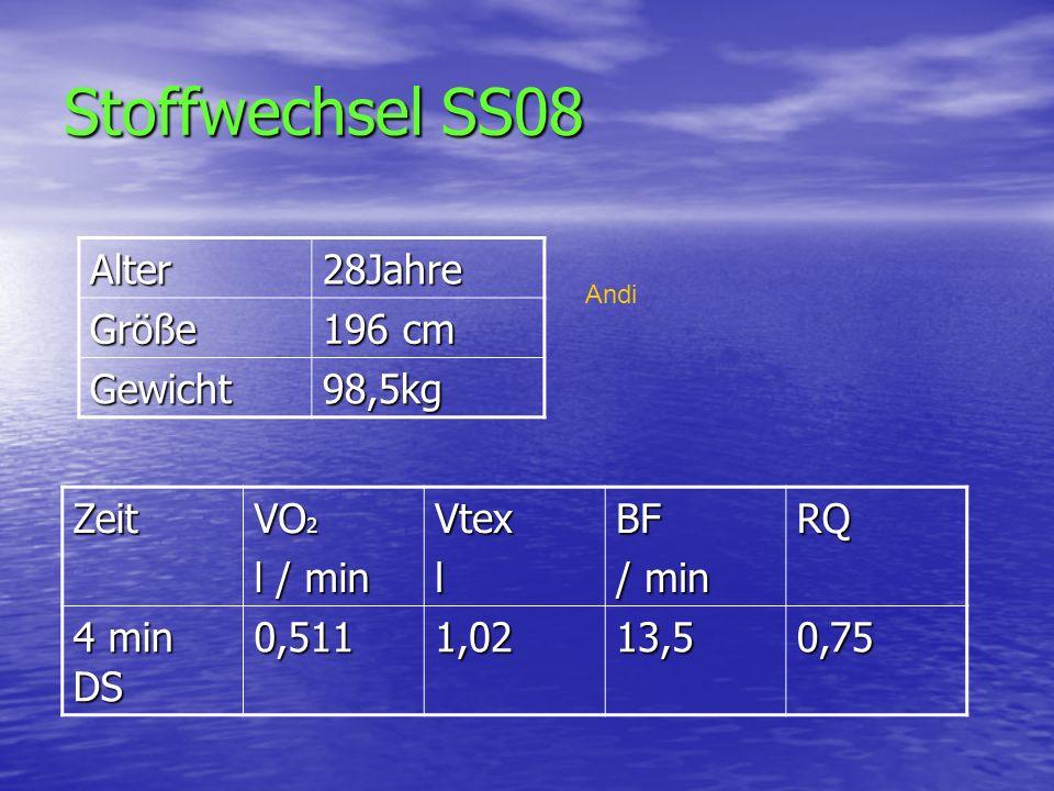 Stoffwechsel SS08 Alter 28Jahre Größe 196 cm Gewicht 98,5kg Zeit VO2