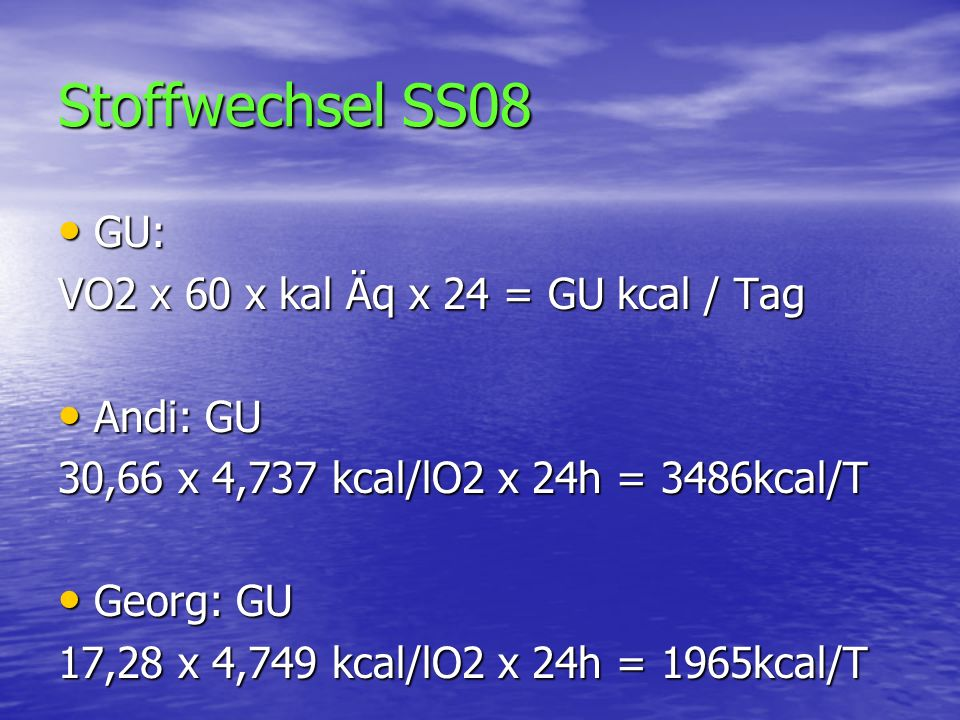 Stoffwechsel SS08 GU: VO2 x 60 x kal Äq x 24 = GU kcal / Tag Andi: GU