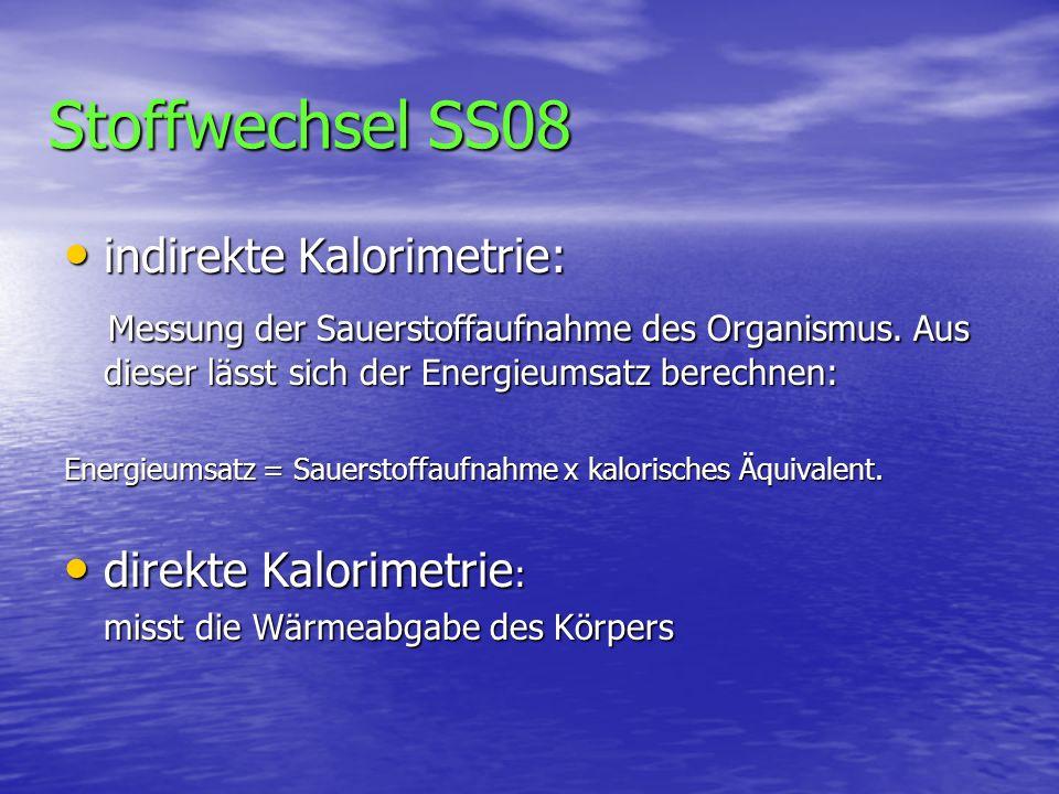 Stoffwechsel SS08 indirekte Kalorimetrie: