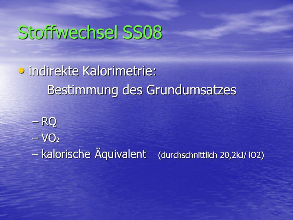 Stoffwechsel SS08 indirekte Kalorimetrie: Bestimmung des Grundumsatzes