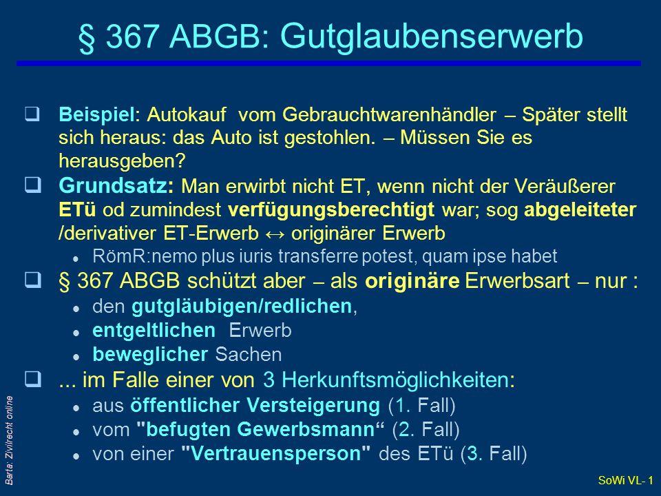 § 367 ABGB: Gutglaubenserwerb
