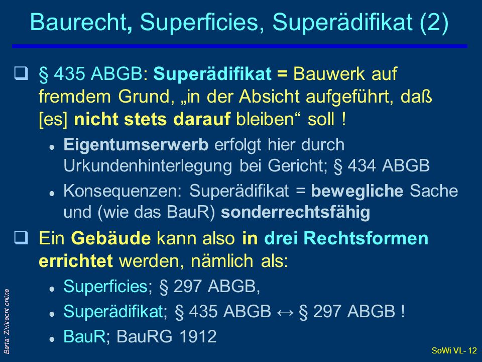 Baurecht, Superficies, Superädifikat (2)