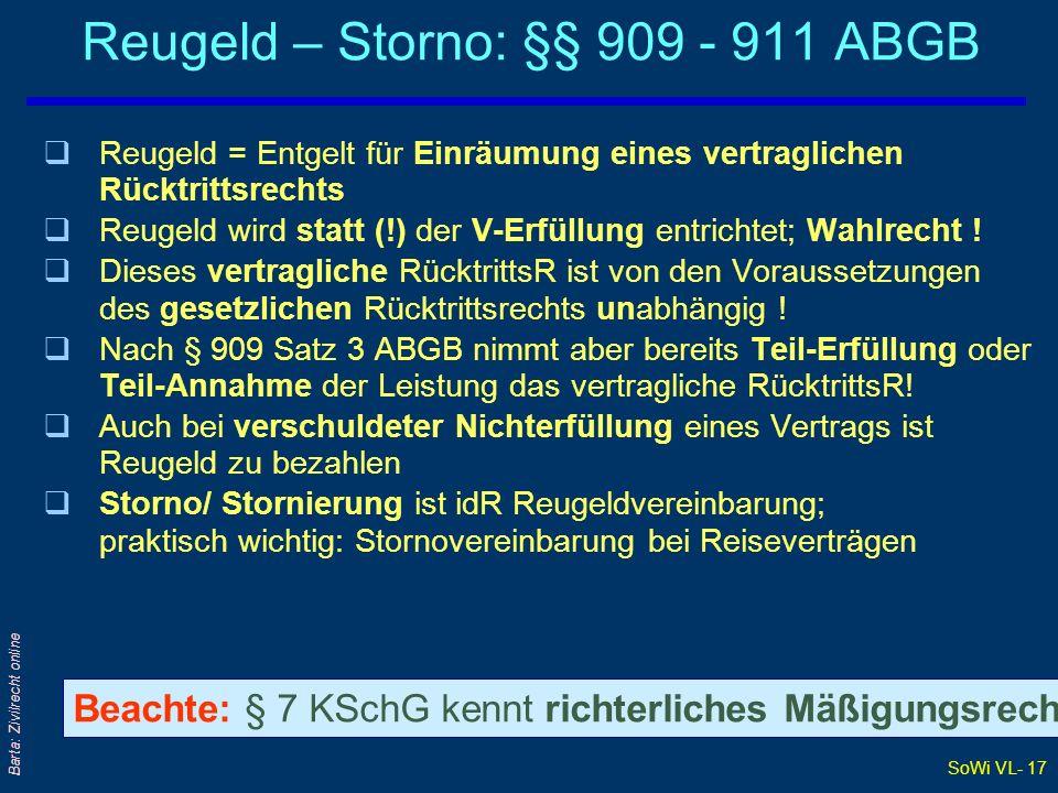 Reugeld – Storno: §§ 909 - 911 ABGB