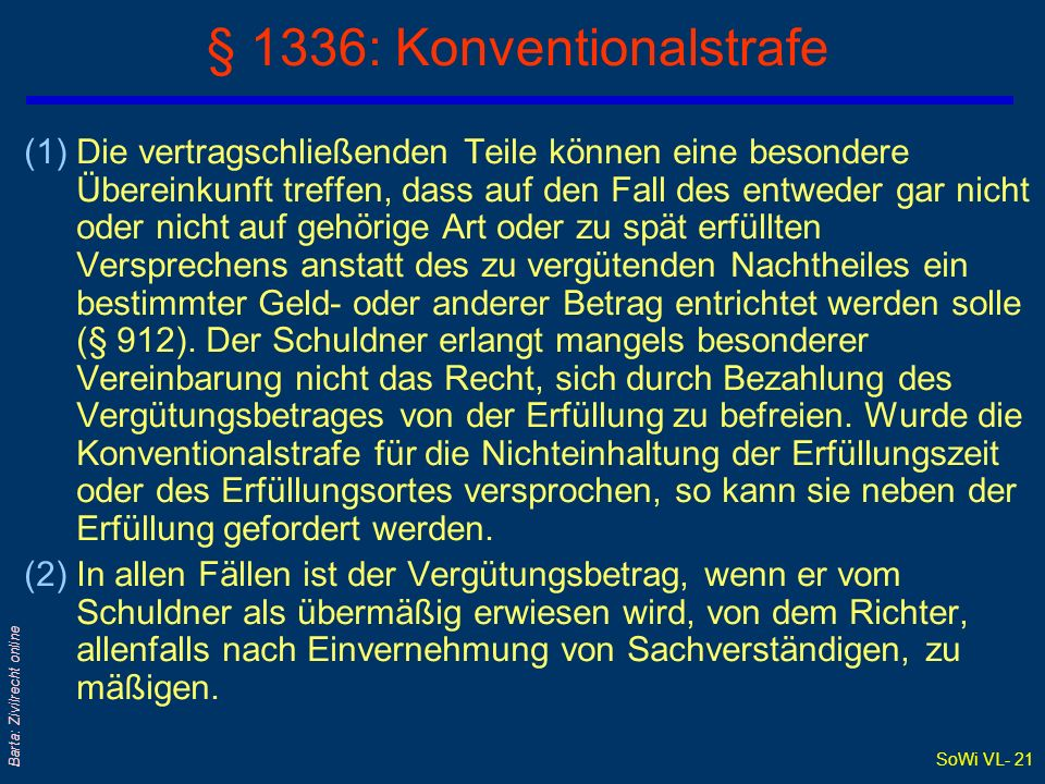 § 1336: Konventionalstrafe