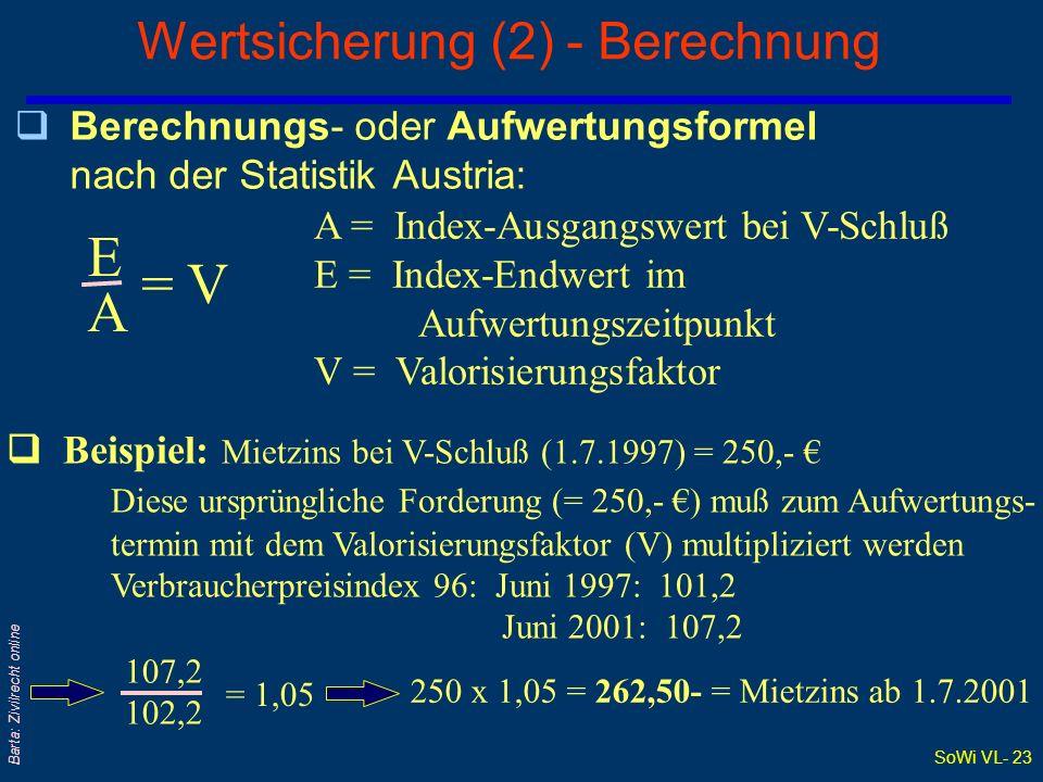 Wertsicherung (2) - Berechnung