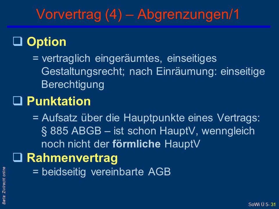 Vorvertrag (4) – Abgrenzungen/1
