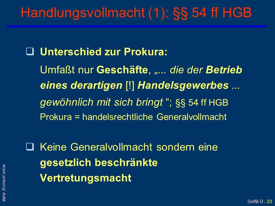 Handlungsvollmacht (1): §§ 54 ff HGB