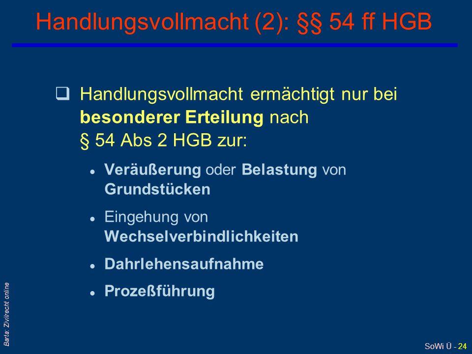 Handlungsvollmacht (2): §§ 54 ff HGB