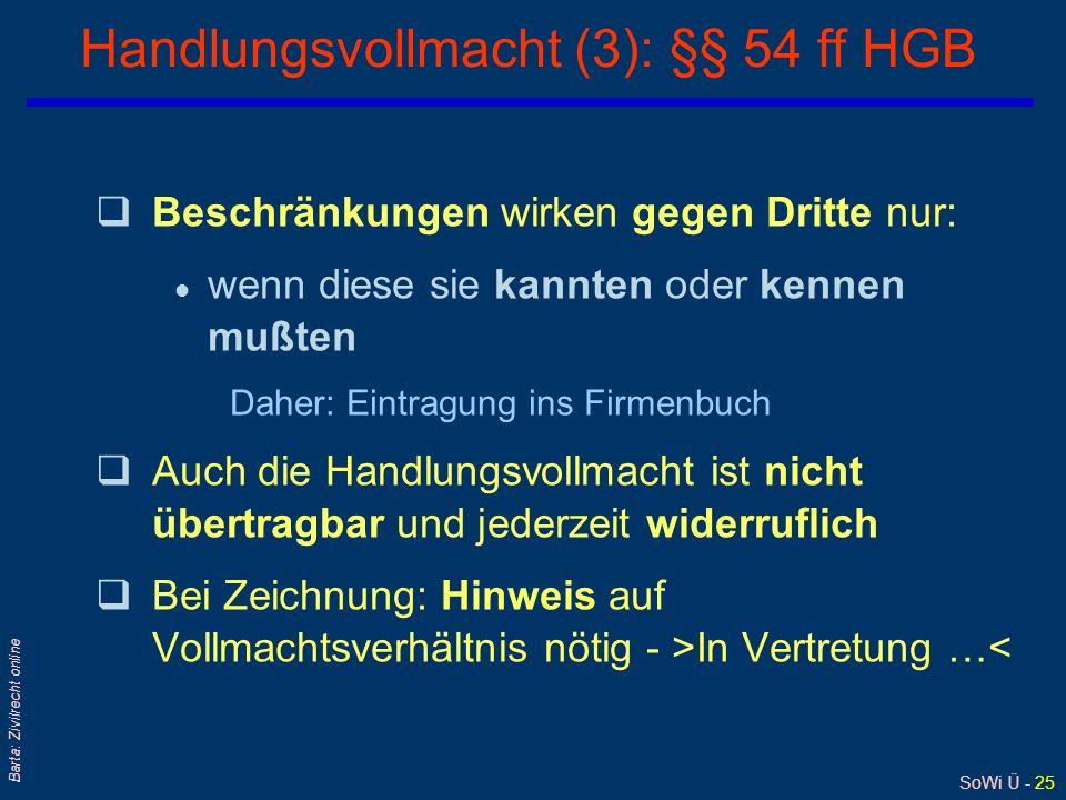 Handlungsvollmacht (3): §§ 54 ff HGB