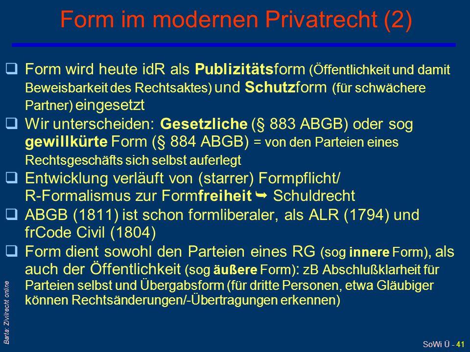 Form im modernen Privatrecht (2)