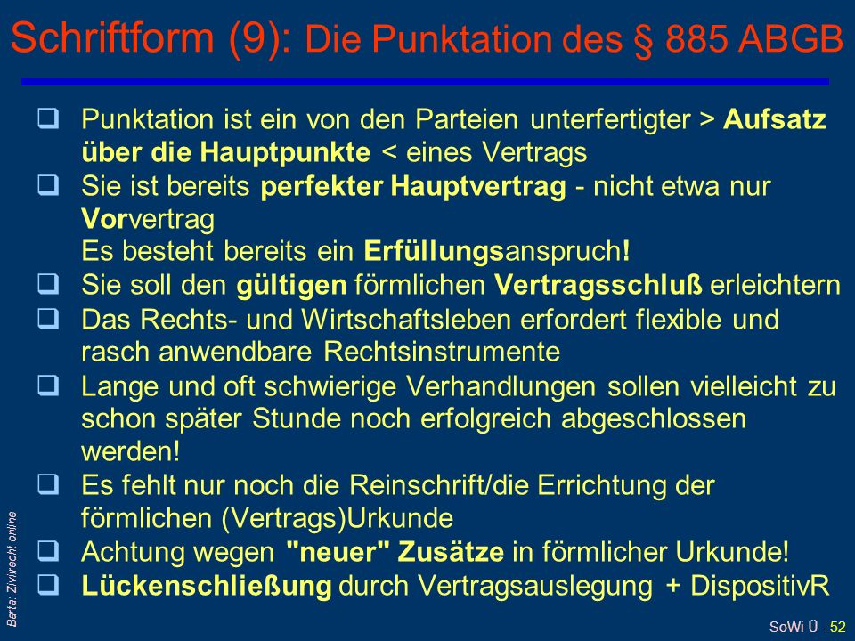 Schriftform (9): Die Punktation des § 885 ABGB